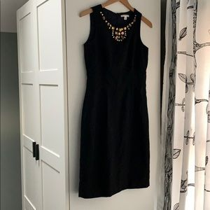 Banana Republic black wool embellished dress